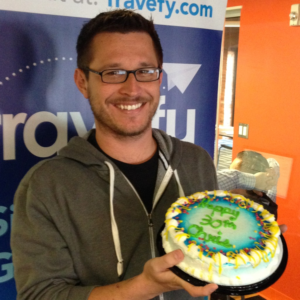 Chris & his birthday cake at Travefy HQ