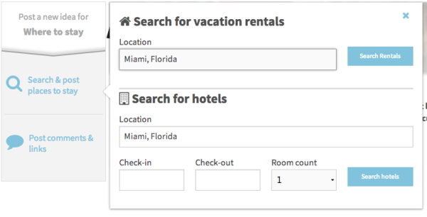 Search Rentals on Travefy