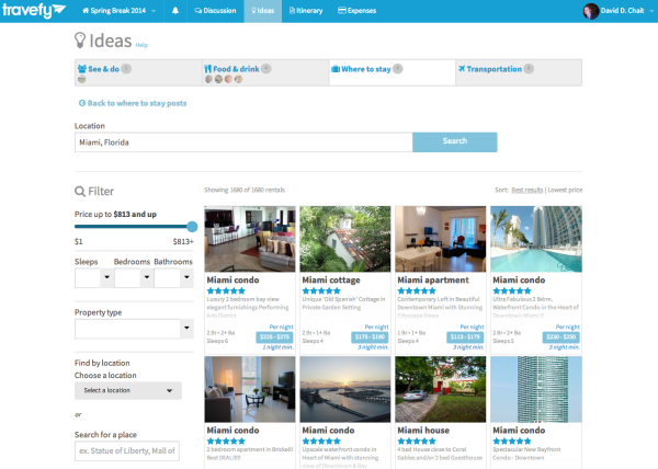 Vacation Rental Results on Travefy