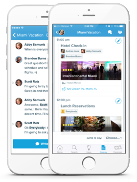 The Travefy Group Travel Planner iOS App for iPhone