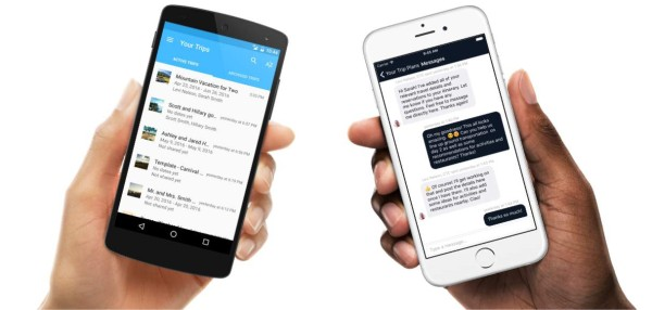 """Travel professional's """"Travefy Pro"""" app on the left and the client's Trip Plans app on the right."""